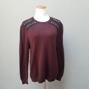 Topshop Studded Crewneck Knit Sweater Maroon Red 8